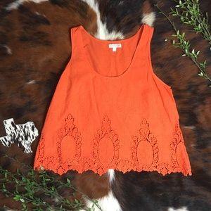 GIANNI BINI • Orange Floral Lace Tank Top Blouse